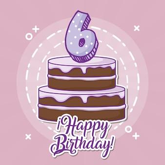 Buon compleanno design con torta birhday