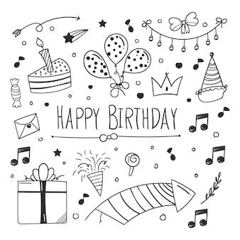 Elemento di doodle di buon compleanno