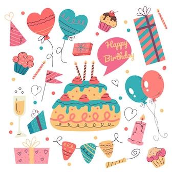 Buon compleanno doodle disegnato a mano elemento di design piatto isolato insieme di raccolta