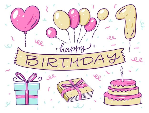 Insieme di elementi di buon compleanno. palloncini, torta, libro e confezione regalo. in stile cartone animato. isolato su sfondo bianco. design per banner, poster e web.
