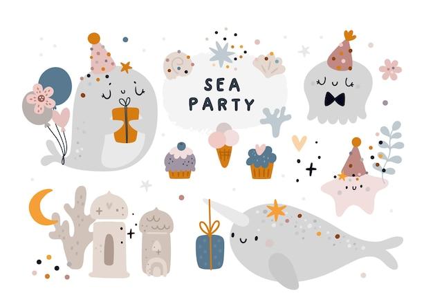 Buon compleanno festivo animali balena, narwal, medusa. creature marine