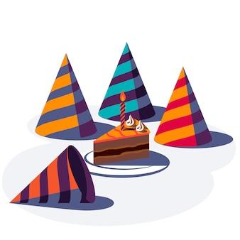 Sfondo festivo di buon compleanno. cappelli da festa colorati e torta isolati su priorità bassa bianca. illustrazione.