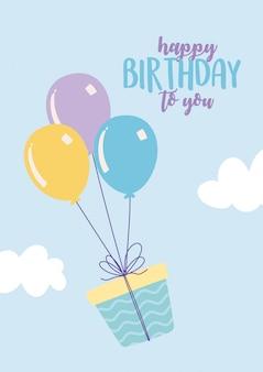 Buon compleanno, confezione regalo volante con palloncini decorazione celebrazione festa