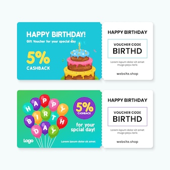 Modello di carta del buono regalo di buon compleanno