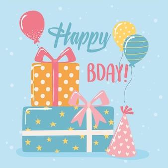 Buon compleanno regali cappelli e palloncini celebrazione festa fumetto illustrazione