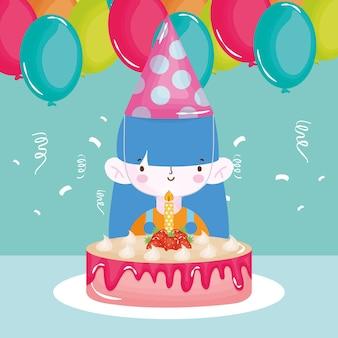 Ragazza di buon compleanno con palloncini torta cappello partito