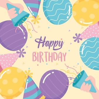 Buon compleanno, saluto palloncini cappelli corna coriandoli celebrazione festa dei cartoni animati