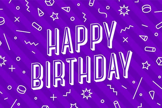 Buon compleanno. biglietto di auguri, banner, poster e concetto di adesivo, stile geometrico con testo happy holiday. carta di iscrizione di buon anniversario, carta di invito per il compleanno.