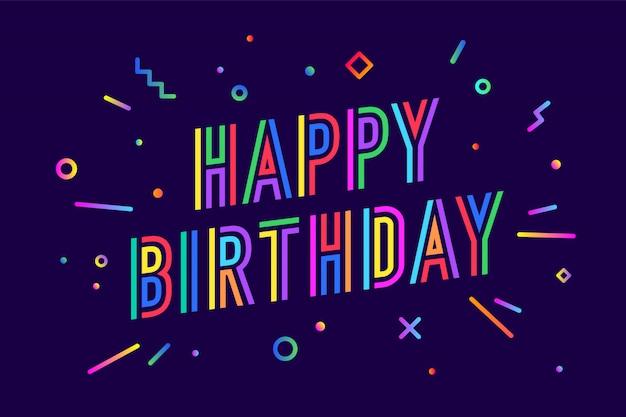 Buon compleanno. biglietto di auguri, banner, poster e concetto di adesivo
