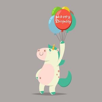 Auguri di buon compleanno. fumetto illustrazione di un unicorno magico divertente con un palloncino colorato.