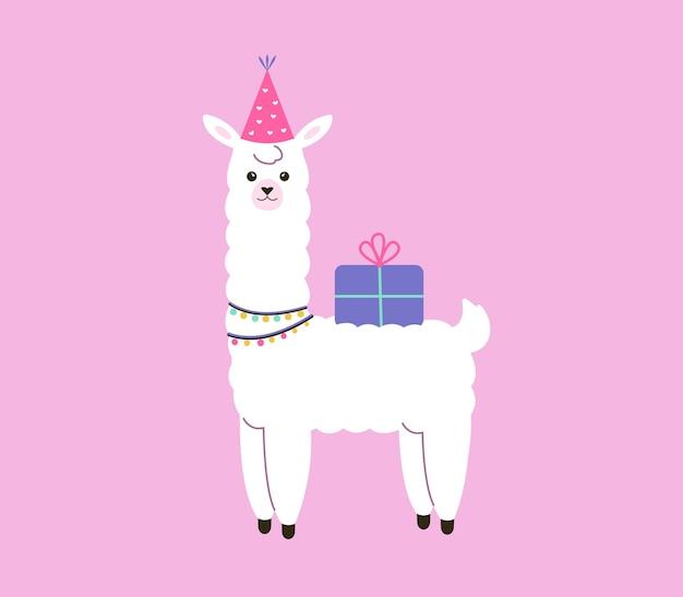 Biglietto di auguri di buon compleanno divertente alpaca bianca in un cappello da festa con un regalo