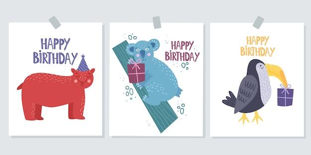 Insieme della cartolina d'auguri di buon compleanno. carta carina con un orso.
