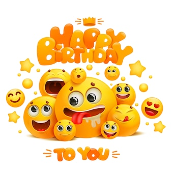 Modello di biglietto di auguri di buon compleanno con un gruppo di personaggi emoji fumetto giallo sorriso.