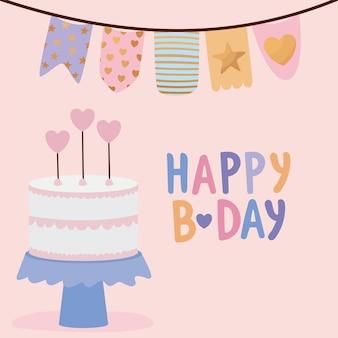 Auguri di buon compleanno con una torta di compleanno e una ghirlanda