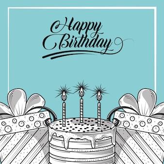 Biglietto di auguri di buon compleanno con torta e regali, illustrazione di stile incisione