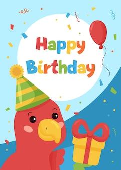 Buon compleanno biglietto di auguri con simpatico pappagallo e regalo su sfondo blu.