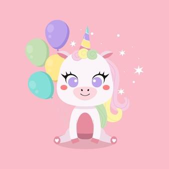 Biglietto di auguri di buon compleanno con unicorno carino e palloncini