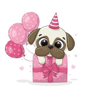 Auguri di buon compleanno con il cane. illustrazione per invito a una festa, stampa di t-shirt di vestiti di moda.