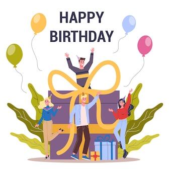 Cartolina d'auguri di buon compleanno con la gente festeggia intorno alla grande scatola con il presente. evento del calendario, celebrazione. palloncino e grande fiocco. illustrazione