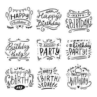 Buon compleanno saluto lettering linea arte citazione