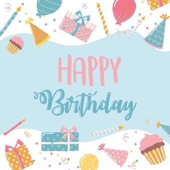 Buon compleanno disegnato a mano lettering torta regalo cappelli celebrazione festa fumetto illustrazione