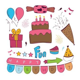 Adesivo disegnato a mano di buon compleanno in stile doodle