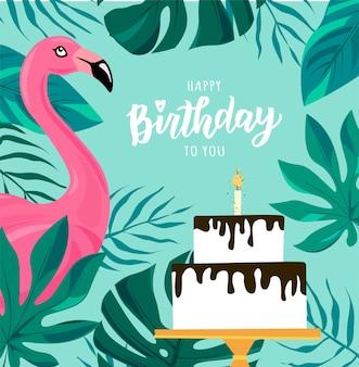 Testo di scritte a mano di buon compleanno. torta di festa di compleanno illustrazione carina e fenicottero per poster, biglietto di auguri, modello di banner.