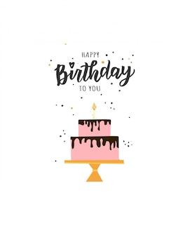 Testo di scritte a mano di buon compleanno. elementi di festa di compleanno illustrazione carina per poster, biglietto di auguri, modello di banner.