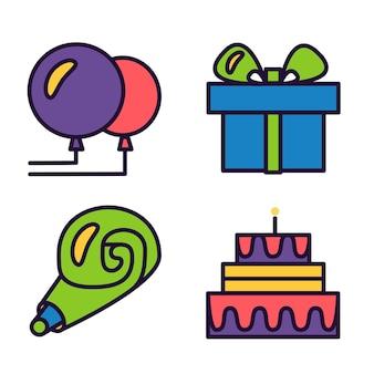 Icone di buon compleanno. simboli di saluto di celebrazione. vettore