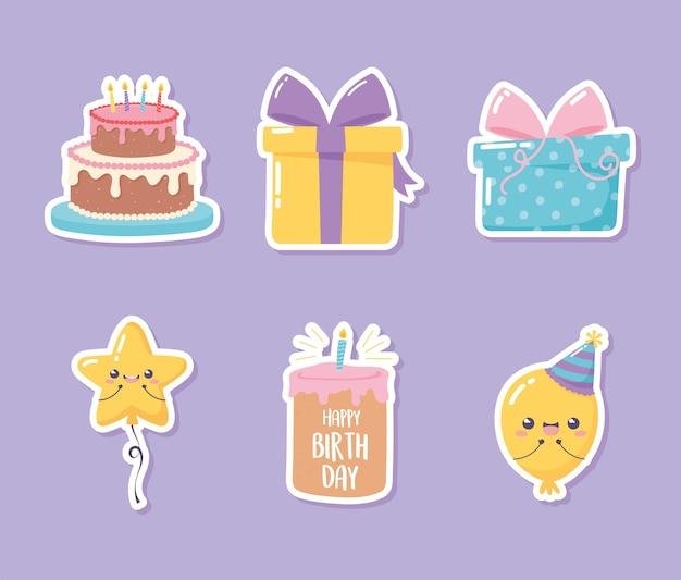 Buon compleanno, set di icone adesivo di torta regalo palloncino celebrazione festa fumetto illustrazione