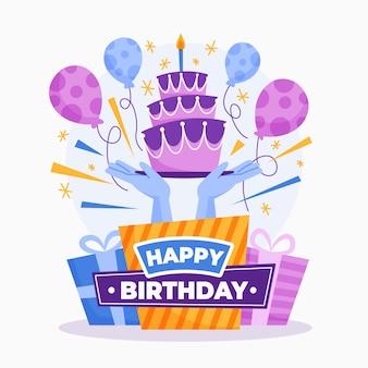 Buon compleanno, illustrazione, concetto Vettore Premium