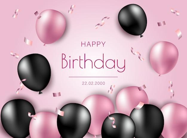 Illustrazione di buon compleanno con palloncini e coriandoli aria nero e rosa