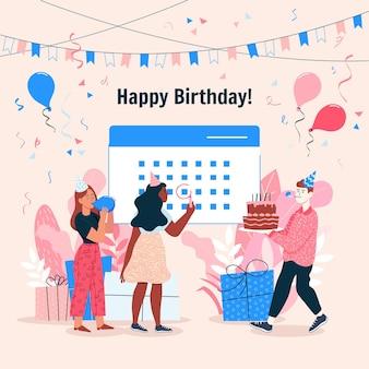 Illustrazione di buon compleanno con bambini e palloncini Vettore Premium