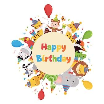 Illustrazione di buon compleanno con animali della giungla, palloncini, regali