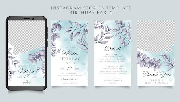 Modello di storie di instagram di buon compleanno con sfondo floreale