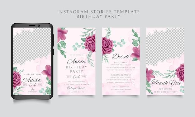 Modello di storie di instagram di buon compleanno con acquerello floreale