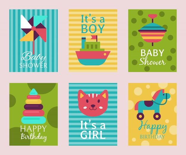 Biglietto d'invito di buon compleanno t-shirt con stampa baby shower.