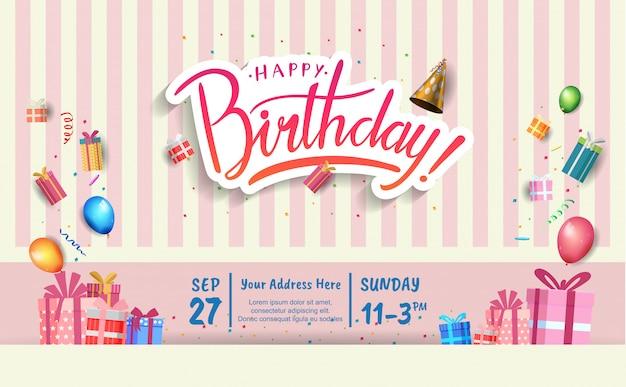 Carta di invito di buon compleanno