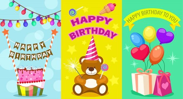 Set di cartoline per bambini di buon compleanno