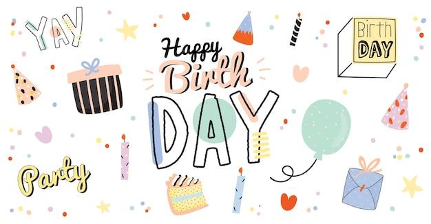 Manifesto di bambini di buon compleanno con confezione regalo di elementi festa di festa carino, ballon, torta, candela, cappello isolato. sfondo bianco. . buono per la decorazione della festa dei bambini
