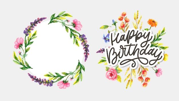 Buon compleanno lettering slogan di calligrafia