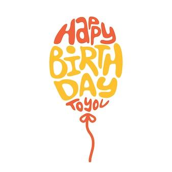 Iscrizione di buon compleanno a forma di mongolfiera