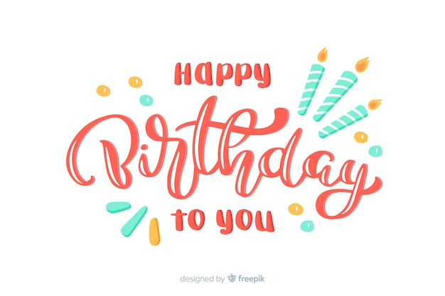 Iscrizione di buon compleanno con candele Vettore Premium