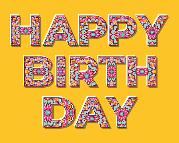 Iscrizione di buon compleanno con lettere colorate