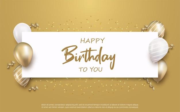 Scritte di buon compleanno con confezione regalo e palloncini