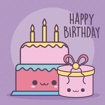 Scritte di buon compleanno con una torta di compleanno e confezione regalo