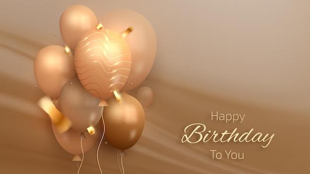Carta di lusso di buon compleanno con palloncini e nastro dorato su scena di tela, stile 3d realistico. illustrazione vettoriale per il design.