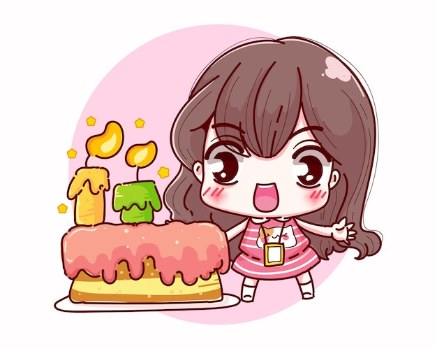 Buon compleanno ufficio ragazza e sorriso character design