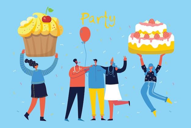 Buon compleanno festa sfondo gruppo di persone su uno sfondo luminoso.
