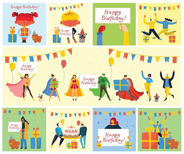 Sfondo festa di buon compleanno, serie di illustrazioni in uno stile piatto